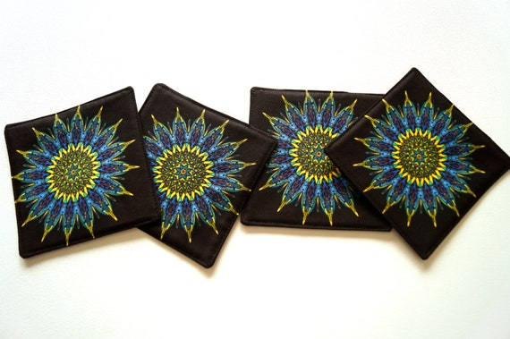 Fabric Coasters with Multicolor Kaleidoscope Pattern, Set of Four