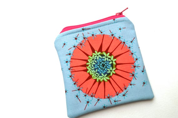 Zipper Coin Purse in Floral Fabric, Pink and Blue Cloth Mini Pouch