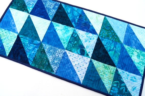 Batik Quilted Fabric Patchwork Table Runner in Shades of Blue, Tropical Triangle Pattern Wall Hanging