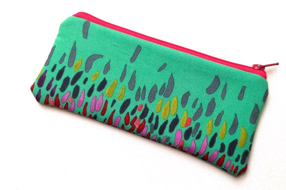 Colorful Fabric Glasses Case, Eclectic Padded Zipper Pouch