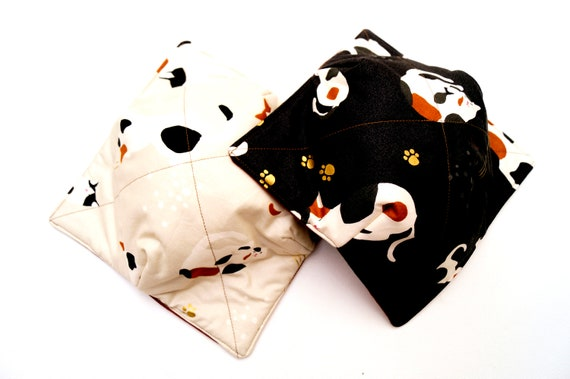 Cat Fabric Microwave Bowl Cozy in Black or Cream, Soup or Ice Cream Bowl Holders