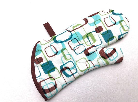 Retro Quilted Fabric Oven Mitt in Teal Blue, Lime Green and Brown