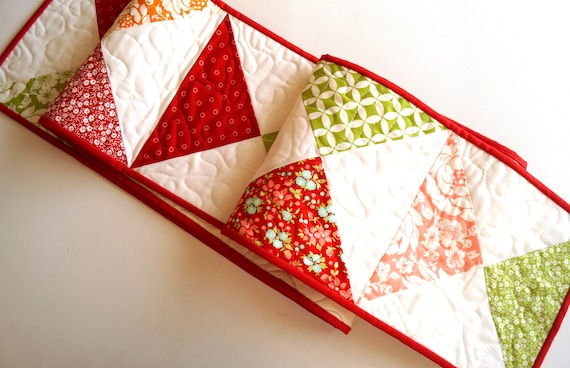 Long Quilted Table Runner in Vintage Style Floral and Print Fabrics in Red, Pink and Green