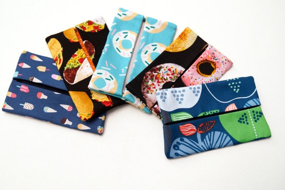 Travel Size Tissue Holder in Your Choice of Food Theme Fabric, Cloth Pocket Size Tissue Cover