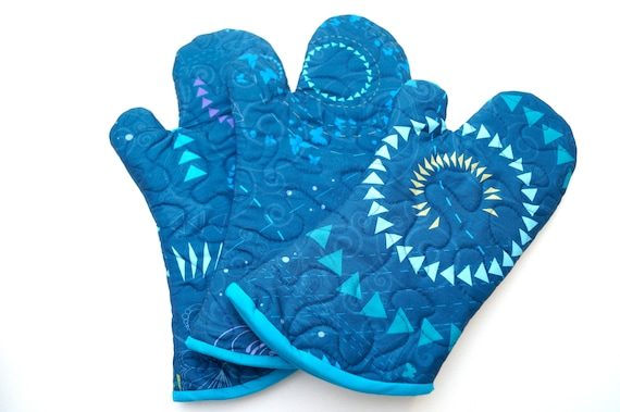 Quilted Oven Mitt with Modern Blue Fabric, Kitchen Linen with Triangles and Butterflies, with Hanging Tab Option