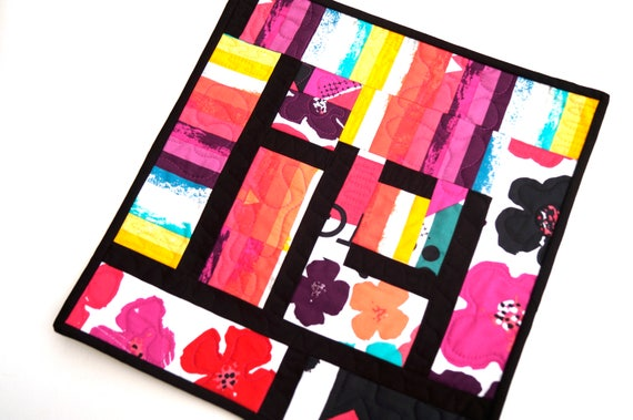 Modern Mini Patchwork Quilt or Wall Hanging in Wild, Colorful Fabric