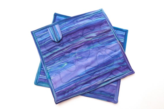 Batik Quilted Fabric Pot Holders in Shades of Blue and Purple, Choice of One Hot Pad or Set of Two with Hanging Tab Option