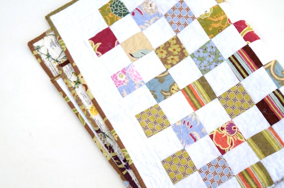 Modern Floral Patchwork Quilt, Baby Girl Blanket, Wall Hanging or Table Topper in Shades of Pink, Blue and Green