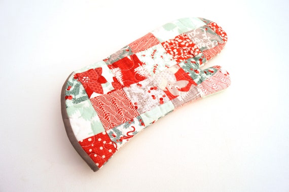 Christmas Quilted Fabric Oven Mitt with Red, Grey and Aqua Blue Patchwork