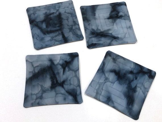 Quilted Fabric Coasters with Denim Blue Cotton Batik Fabric, Set of Four