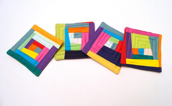 Quilted Fabric Coasters with Abstract Patchwork, Colorful Cloth Drink Ware, Set of Four