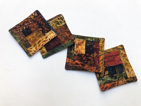 Batik Quilted Fabric Coasters in Fall Color Patchwork, Set of Four