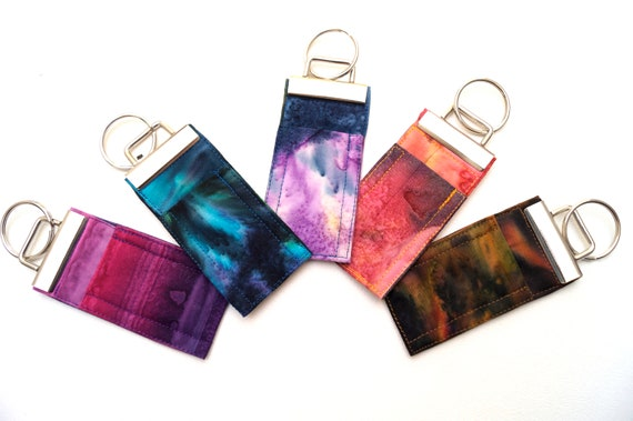 Chap Stick Holder Key Chains with your choice of Colorful Hand Dyed Batik Fabric