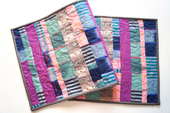 Quilted Patchwork Table Runner with Shades of Pink and Blue Yarn Dyed Fabrics