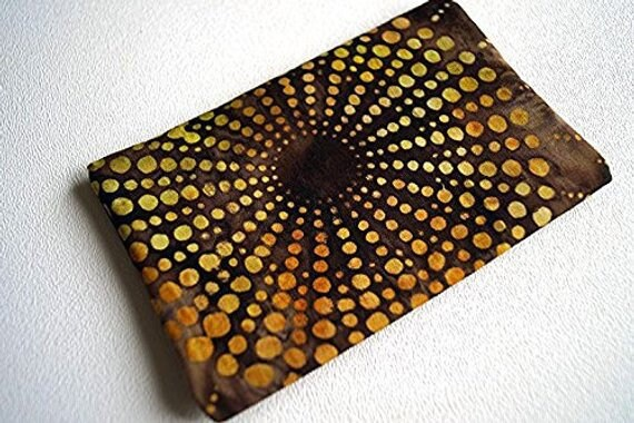 Sunburst Pocket Size Travel Tissue Cover in Brown and Yellow Batik Fabric