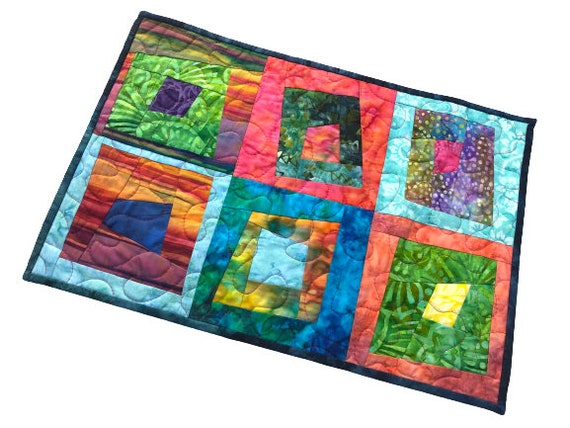 Batik Fabric Mini Quilt with Vibrant, Colorful and Tropical Patchwork for use as a Wall Hanging, Place Mat, Table Topper