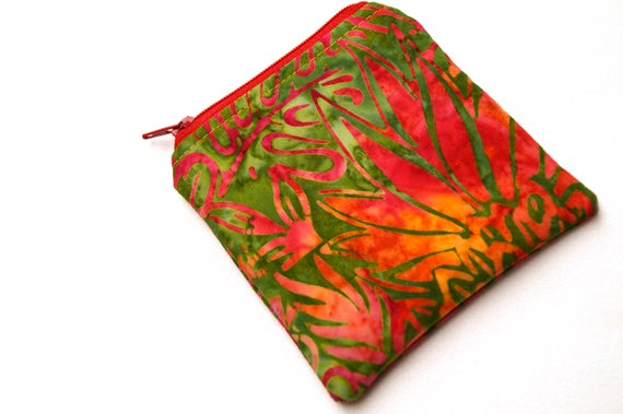 Padded Zipper Pouch in Tropical Batik Fabric, Red and Green Botanical Coin Purse