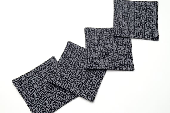 Quilted Fabric Coasters with Modern Grey and Black Text Pattern, Modern Monochrome Cloth Drink Ware, Set of Four