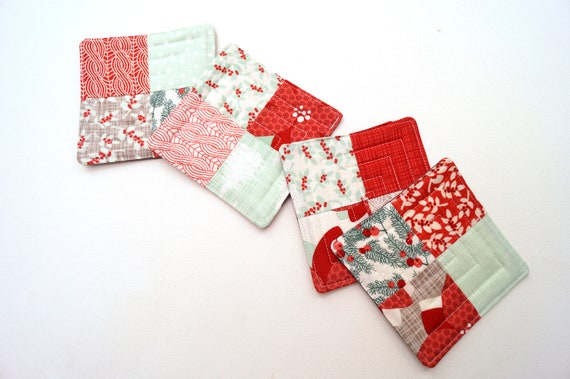 Christmas Quilted Fabric Patchwork Coasters, Set of Four