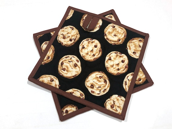 Chocolate Chip Cookie Quilted Fabric Pot Holders, Choice of One or Two with Hanging Tab Option