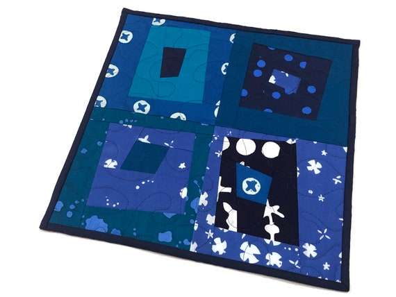 Modern Mini Quilt in Shades of Blue Patchwork for use as a Table Topper, Wall Hanging, Place Mat