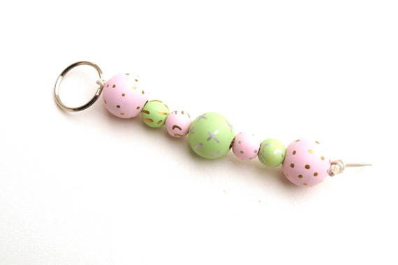 Wood Bead Key Chain in Pink Mint Green and Gold, Hand Painted Bead Keychain
