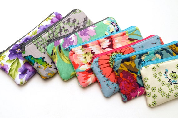 Glasses Case, Small Cosmetic Pouch, Zippered Sunglasses Holder in Purple and Teal Floral Fabric