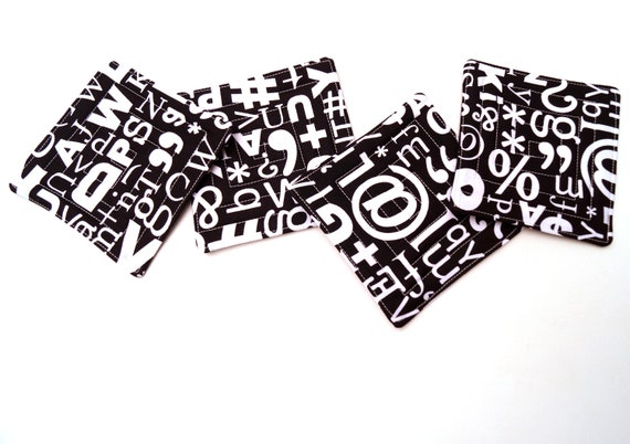 Quilted Fabric Coasters with Black and White Letters Numbers and Symbols, Set of Four