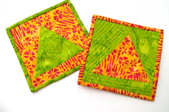 Batik Patchwork Mini Quilts Set of Two, Colorful Tropical Oversize Coasters