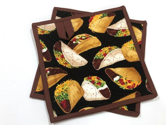Taco Quilted Fabric Pot Holders, Choice of One or Set of Two with Hanging Tab Option
