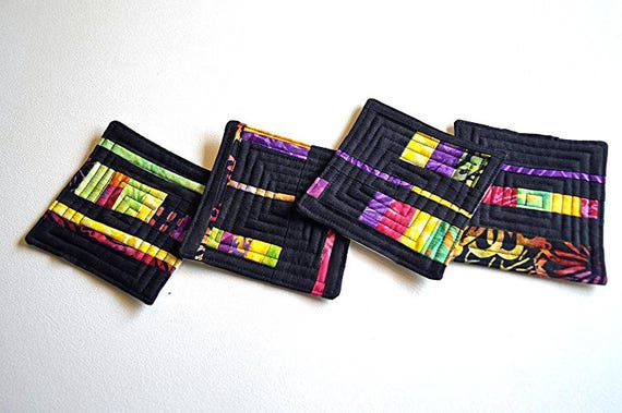 Abstract Coasters in Colorful Batik Fabric Patchwork, Modern Quilted Drinkware, Set of Four