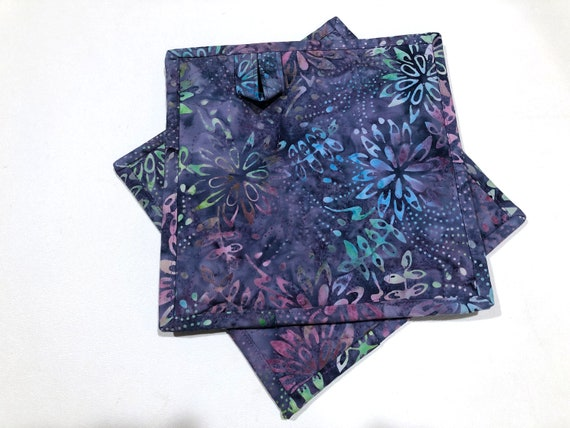 Purple Floral Batik Quilted Fabric Pot Holders, Choice of One or Set of Two with Hanging Tab Option