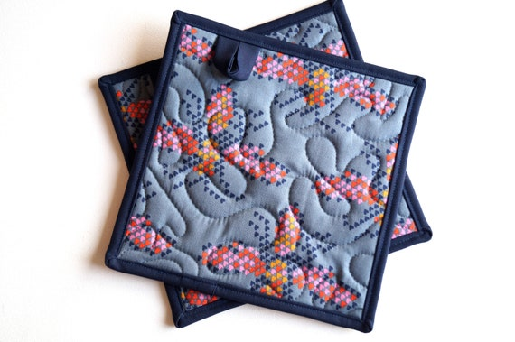 Quilted Fabric Pot Holders with Butterfly Heart Pattern, Modern Cloth Hot Pads, Your Choice of One or Two