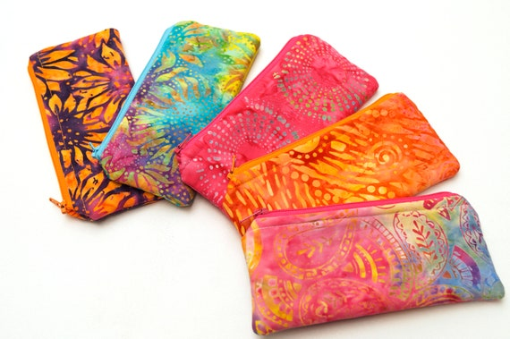 Glasses Case, Small Cosmetic Pouch, Zippered Sunglasses Holder with your choice of Vibrant Batik Fabric
