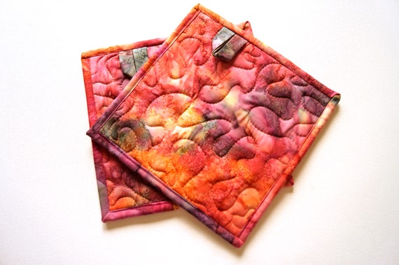 Batik Quilted Fabric Pot Holders in Spice Colorway, Choice of One Hot Pad or Set of Two with Hanging Tab Option