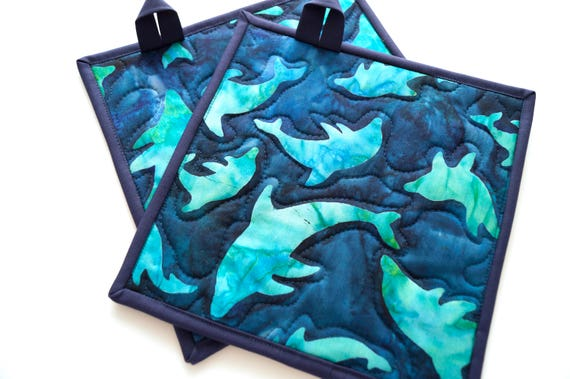 Dolphin Quilted Pot Holders in Shades of Blue, Tropical Batik Fabric Hot Pads, Set of Two, With or Without Hanging Tabs