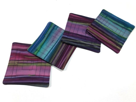 Quilted Batik Fabric Coasters with Stripes in Shades of Blue and Purple, Set of Four