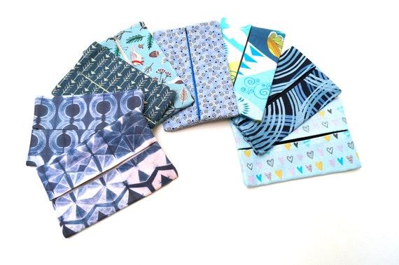 Pocket Size Tissue Holder in Blue Modern Prints Cotton Fabric