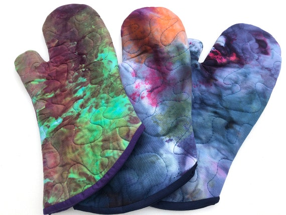 Quilted Hand Dyed Fabric Oven Mitt in Variety of Options