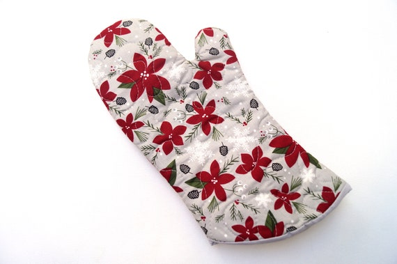Christmas Floral Fabric Oven Mitt, Quilted Holiday Cloth Oven Mitts, with Hanging Tab Option