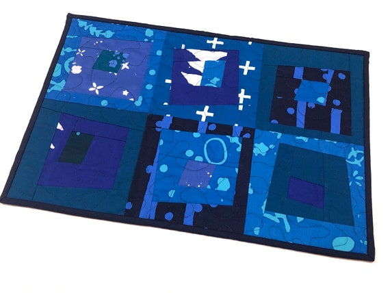 Quilted Place Mat or Wall Hanging in Modern Patchwork in Shades of Blue Fabric