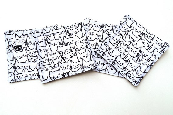 Black & White Cat Fabric Coasters, Cute Kitty Quilted Cloth Drink Ware, Set of Four