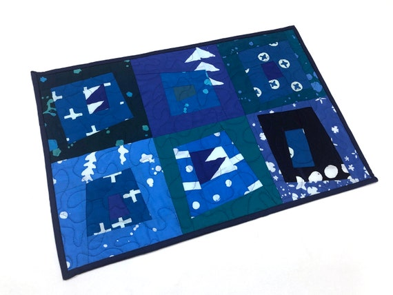 Quilted Modern Batik Fabric Place Mat or Wall Hanging with Patchwork in Shades of Blue