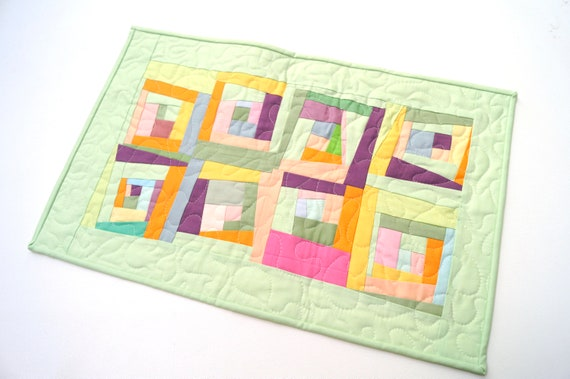 Quilted Patchwork Table Runner or Wall Hanging with Colorful, Tropical Batik Fabrics
