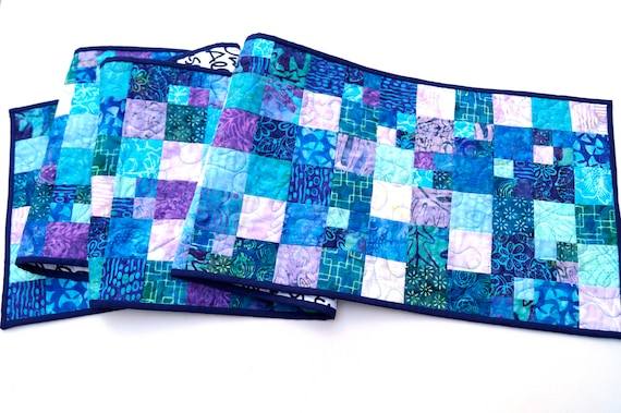 Quilted Patchwork Table Runner in Shades of Blue and Purple Batik Fabrics