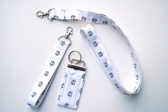 Cat Fabric Lanyard, Wristlet, Chap Stick Holder Key Chain, Your Choice of One or All, in Black and White