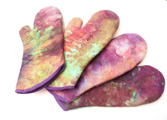 Quilted Hand Dyed Fabric Oven Mitt in Pink, Purple and Green