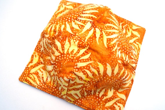 Microwave Bowl Cozy with Sunflower Batik Fabric, Soup or Ice Cream Bowl Holders