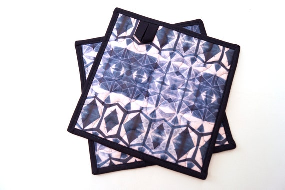 Quilted Fabric Pot Holders with Indigo Blue Shibori Print