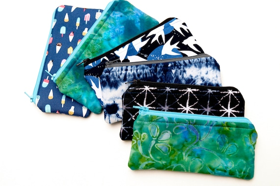 Padded Fabric Glasses Case, Cloth Zipper Pouch with your choice of Blue or Blue Green Fabrics